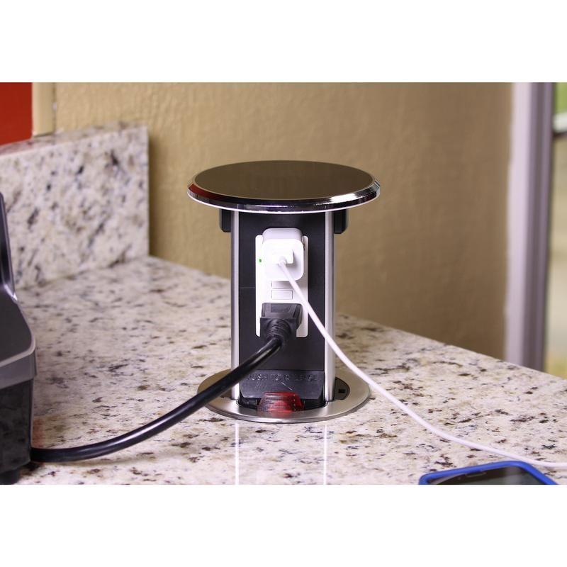 Kitchen Counter Spill Proof Retractable Pop Up 20a Gfci Plugs Black Diy Countertops Countertops Cheap Countertops
