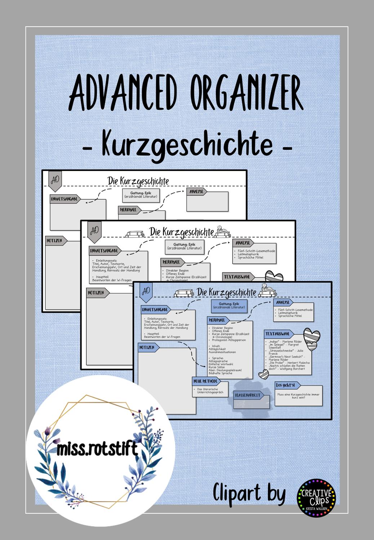 Kurzgeschichte Advanced Organizer Lernweg Lernkarte Unterrichtsmaterial Im Fach Deutsch In 2020 Kurzgeschichten Lernen Lernkarten