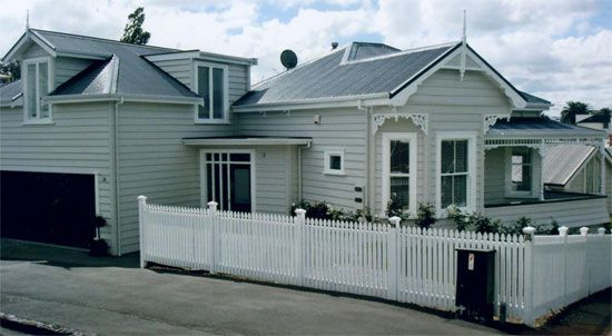 Resene Half Bison Hide On All Weatherboards Resene Eighth Thorndon Cream On All Windows Trims