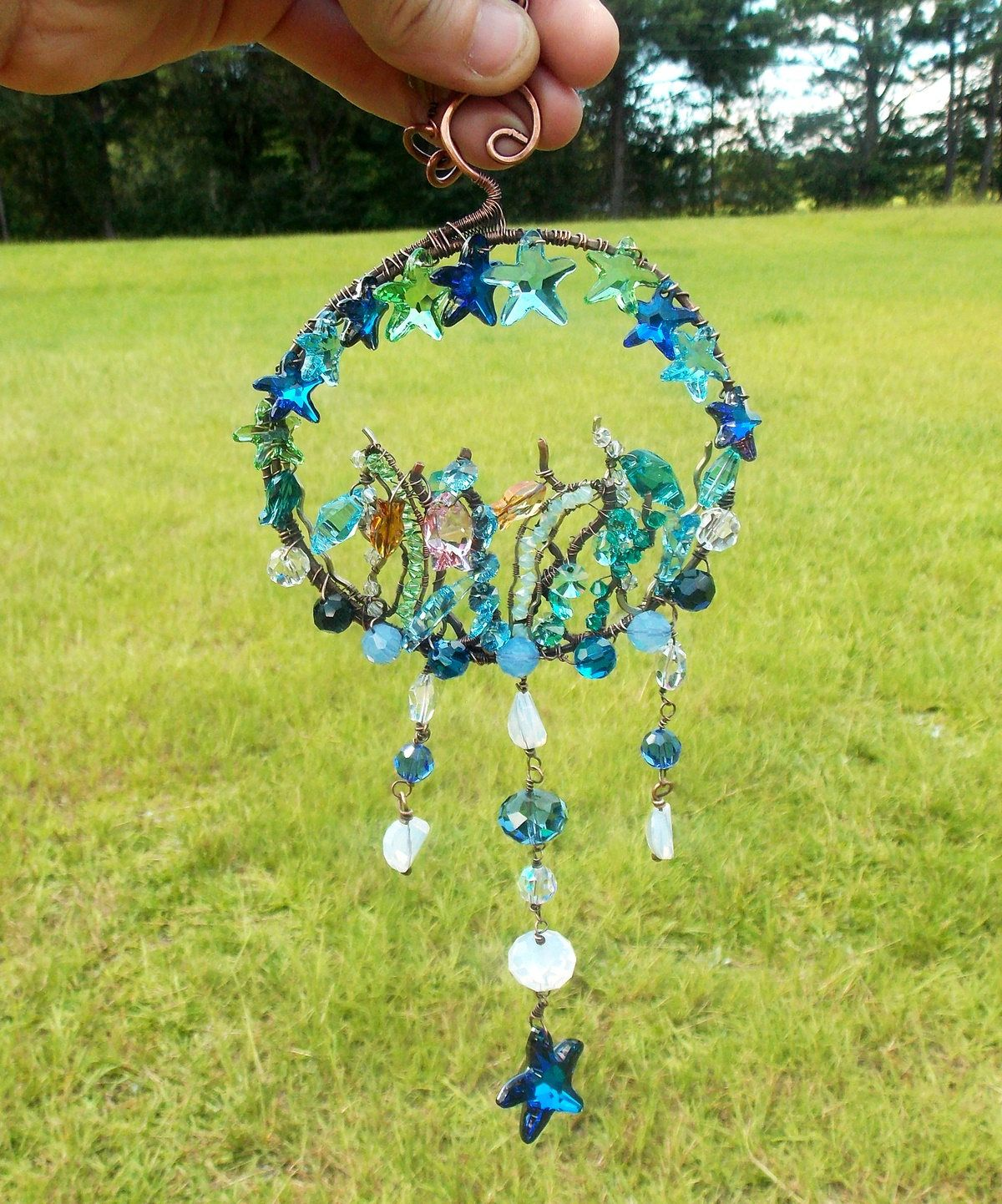 Sea sun catcher-copper sculpture-garden art-crystal sun catcher ...