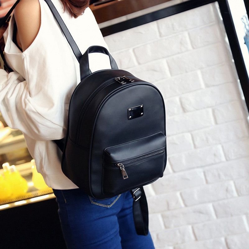 ... Toposhine Retro Popular Women Backpack Black PU Leather Womens  Backpacks Fashion Girls School Bag Small Female ... 7060aa2a1abce