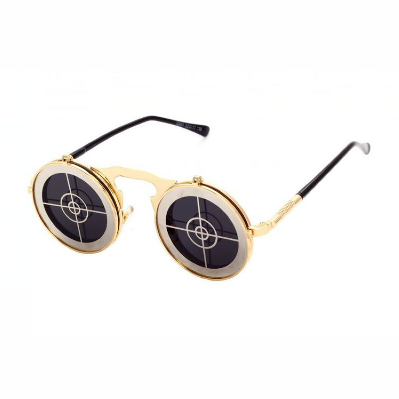 7c1a8a3228 Stylish Hollow Out Target Board Shape Embellished Clamshell Sunglasses.  Cosplay Target Steampunk Unisex Sunglasses Metal Gold Round Frame Grey Lens