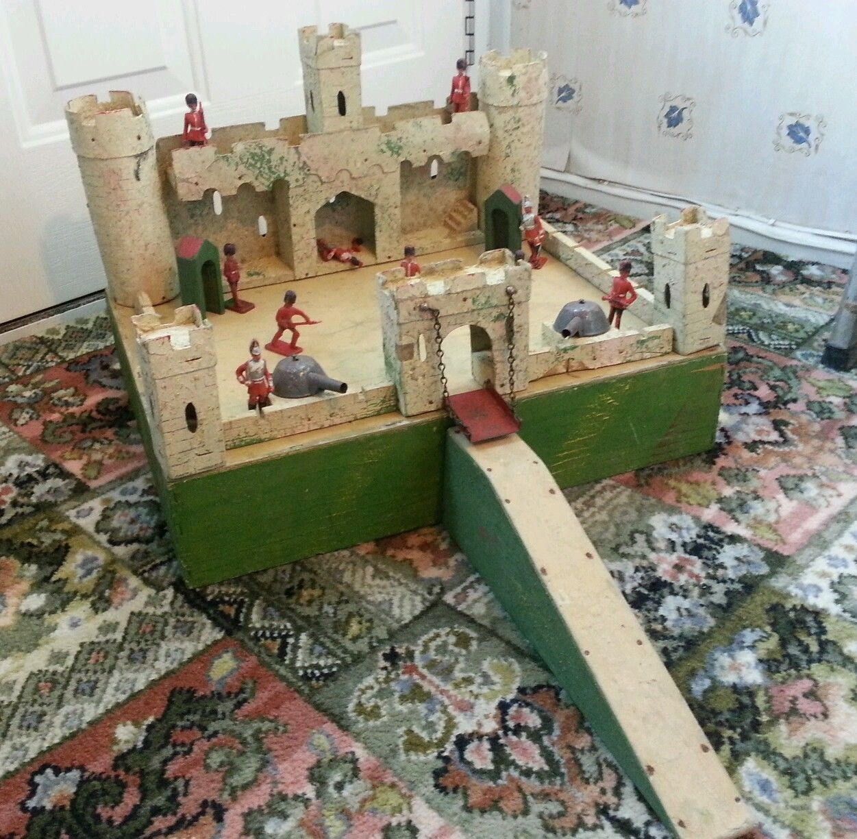 1920 39 s 30 39 s toy soldier fort cardboard and wood with for How to make a fort out of wood