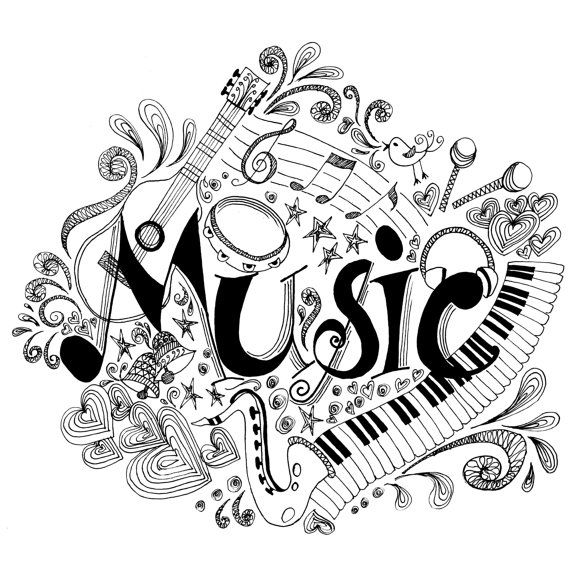 Printable Coloring Page Zentangle Music Coloring Book Music Notes Art Music Coloring Music Drawings