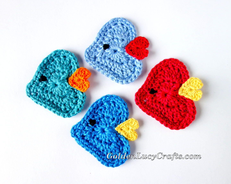 Crochet Fish Applique, Free Crochet Pattern, Heart Shaped | Crochet ...