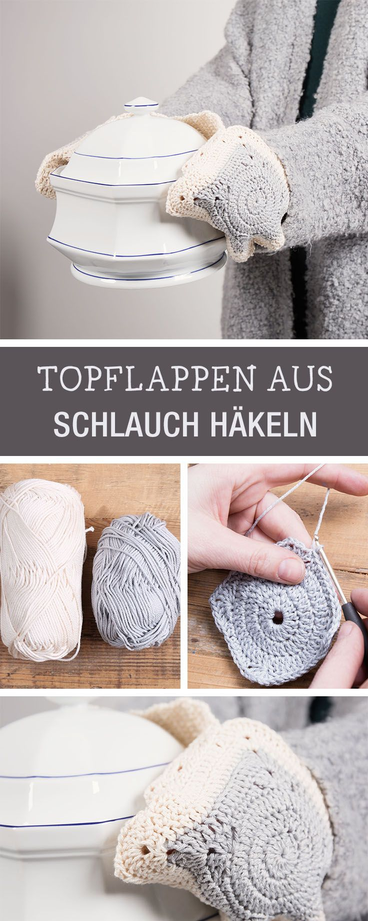 DIY-Anleitung: Topflappen aus langem Schlauch häkeln via DaWanda.com ...