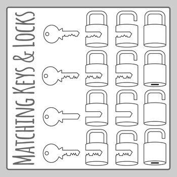 Matching Keys and Locks Line Art Clip Art Set... by Hidesy