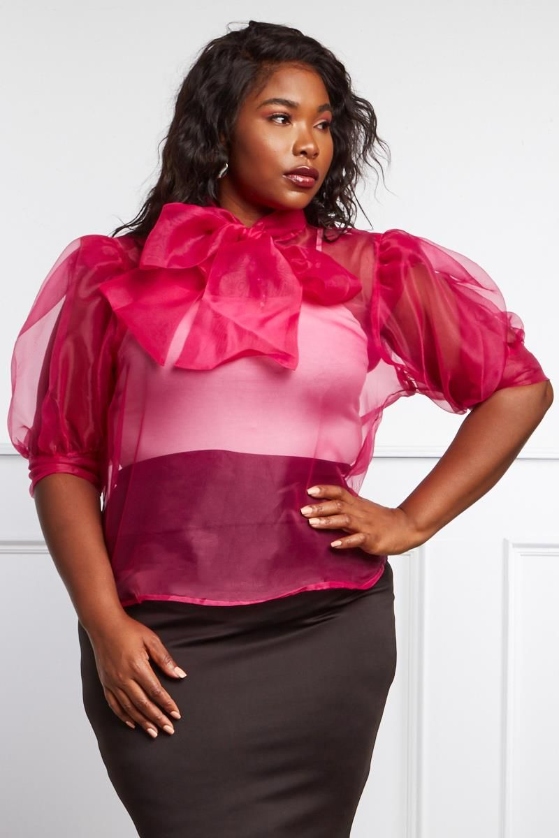 6004eef85fb STYLE   183939 Web Exclusive PAINTING ALLURE PLUS SIZE SHEER MESH BLOUSE   34.99