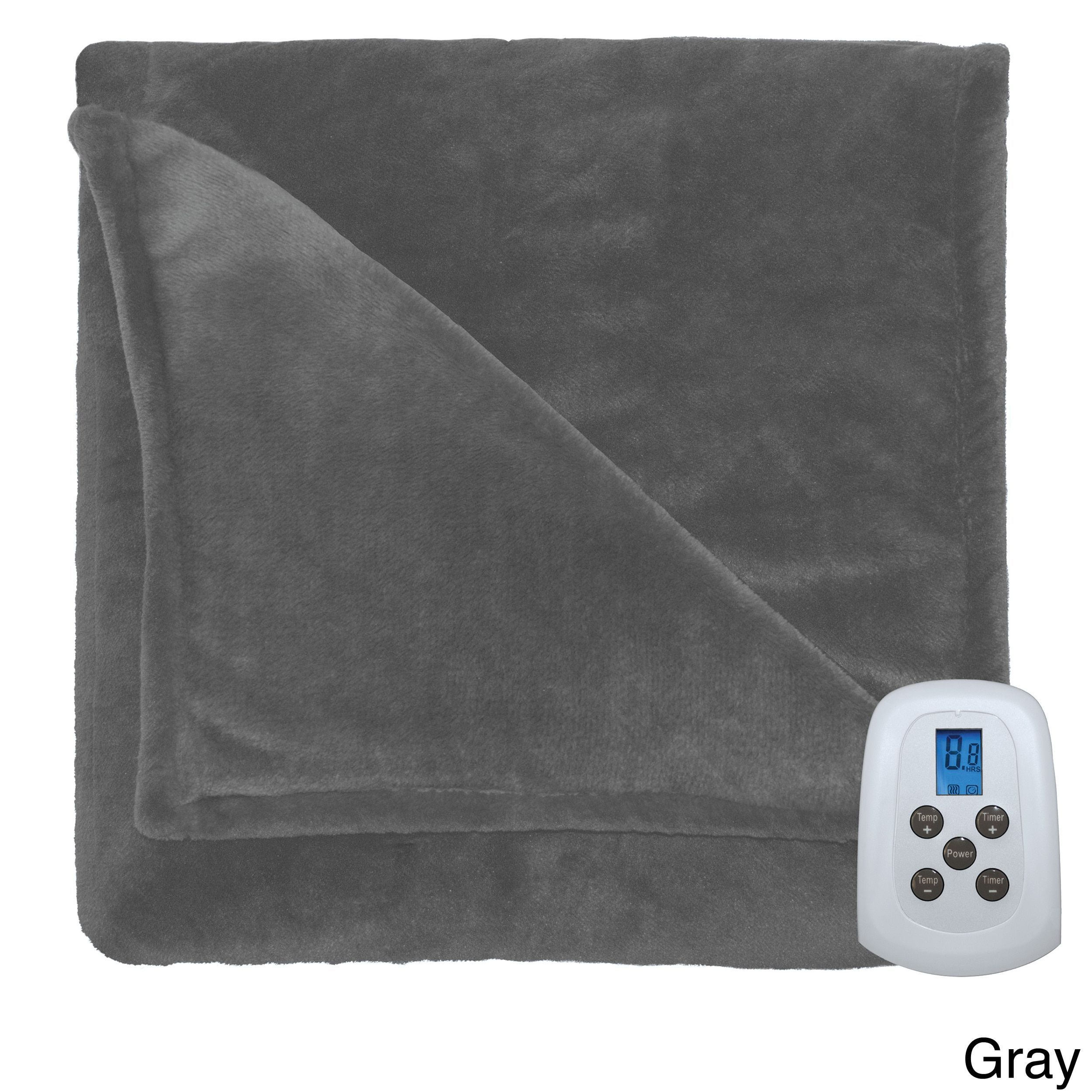 Serta Silky Plush Heated Electric Warming Blanket with a