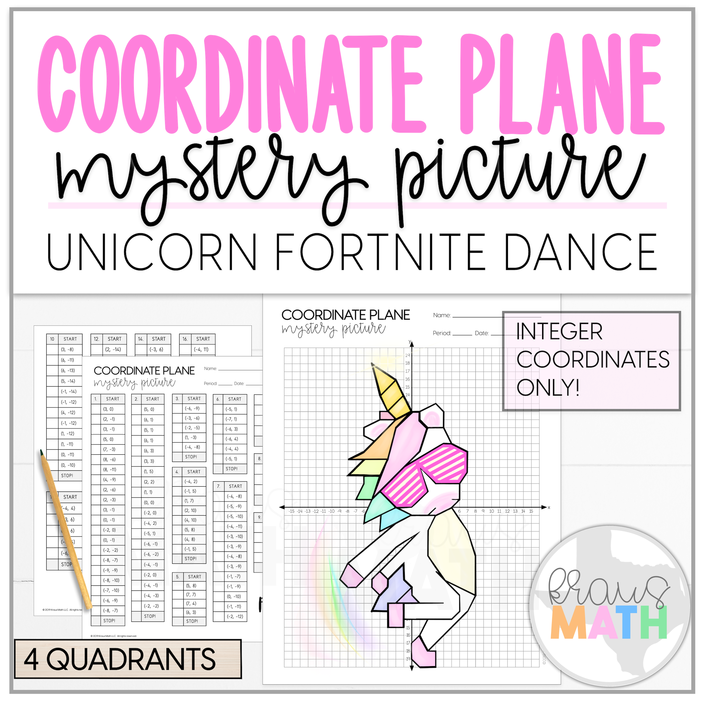 Unicorn Fortnite Shoot Dance Coordinate Plane Mystery