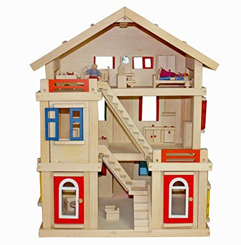 DeAO Large Wooden Doll House With Furniture U0026 Staircase 3 Levels Doors U0026  Windows Can Be