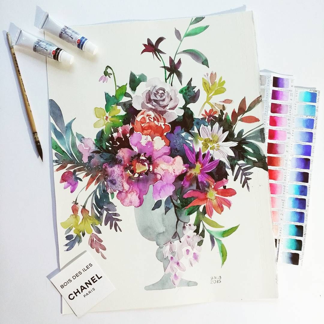 Watercolor Illustrator Gala Kamenskaya Galakamenskaya Flowers
