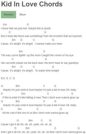 Kid In Love Chords Shawn Mendes Guitar Chords In 2018 Pinterest