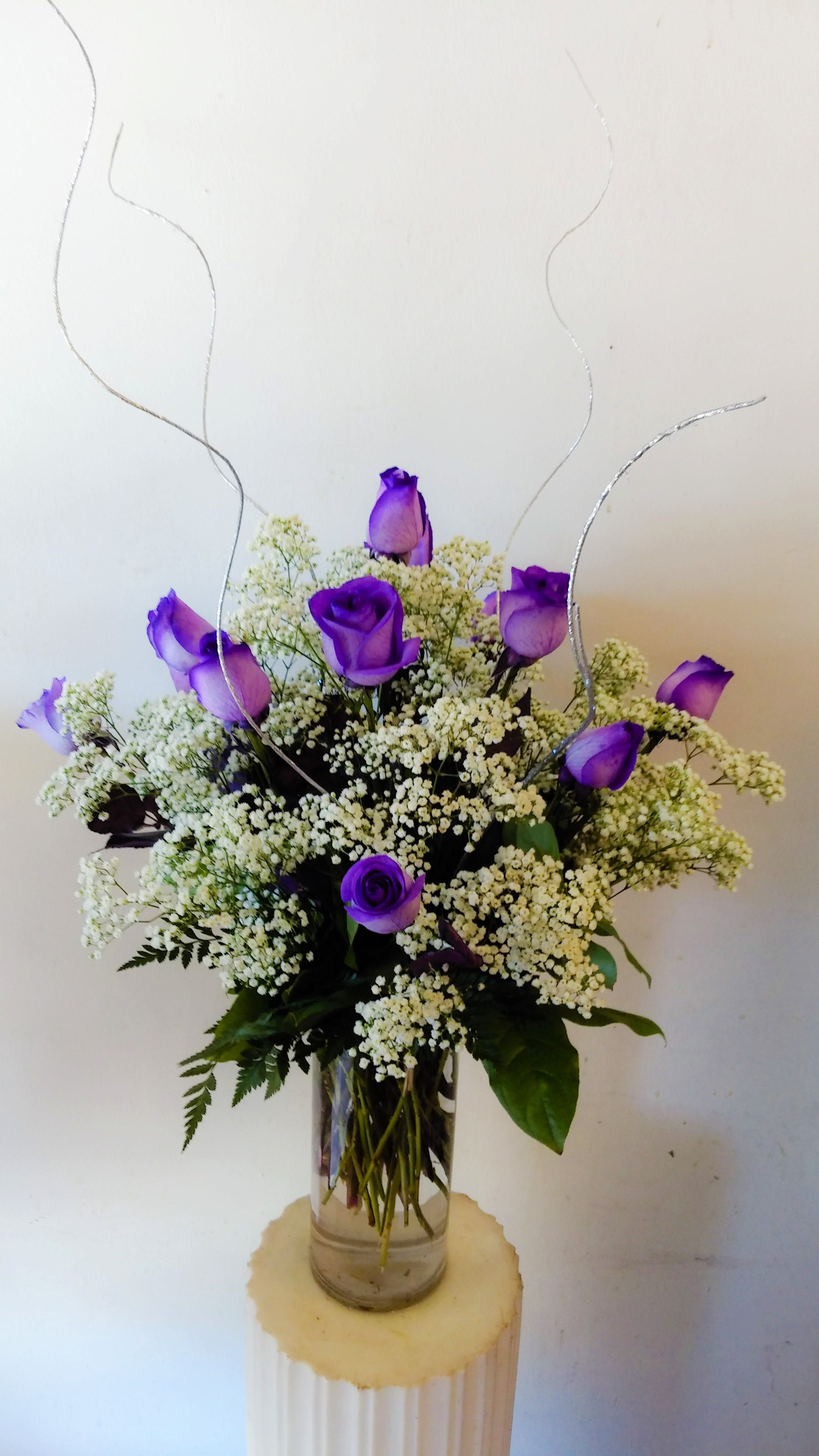 1 Dozen Purple Roses By Creative Floral Designs Purple Roses Fresh Flower Delivery Flower Delivery