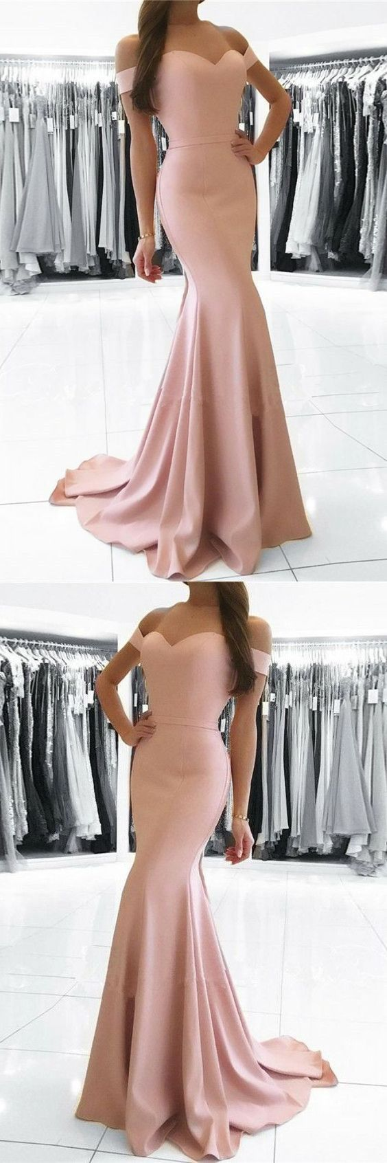 Simple blush pink party dress off shoulder prom dress mermaid long