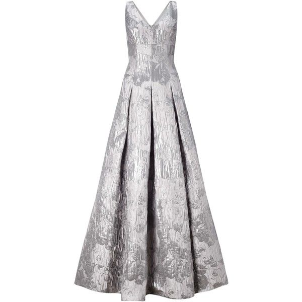 Aidan Mattox Sleeveless V-Neck Metallic Jacquard Ballgown, Silver (€530) ❤ liked on Polyvore featuring dresses, gowns, silver evening gowns, white maxi dress, floor length evening gown, evening dresses and white gown