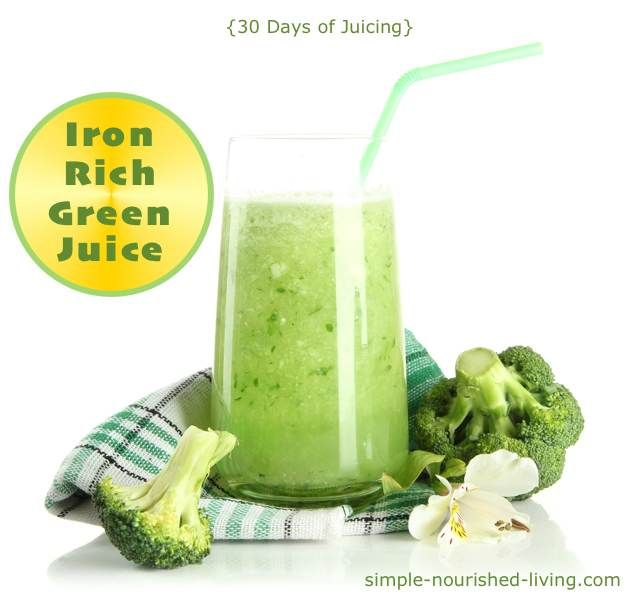 Iron-Rich Green Juice with broccoli and spinach. Just 120 calories and 3 Points+ per serving. #Juicing #WeightWatchers