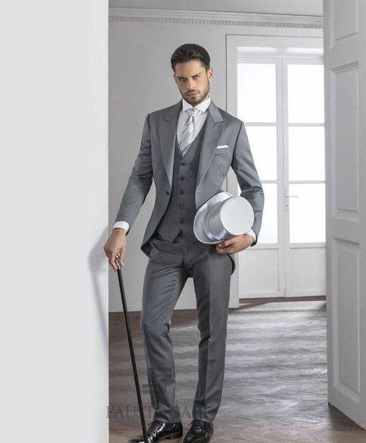 Gray David Beckham Groom Suit Custom Made Tuxedos For Men ...