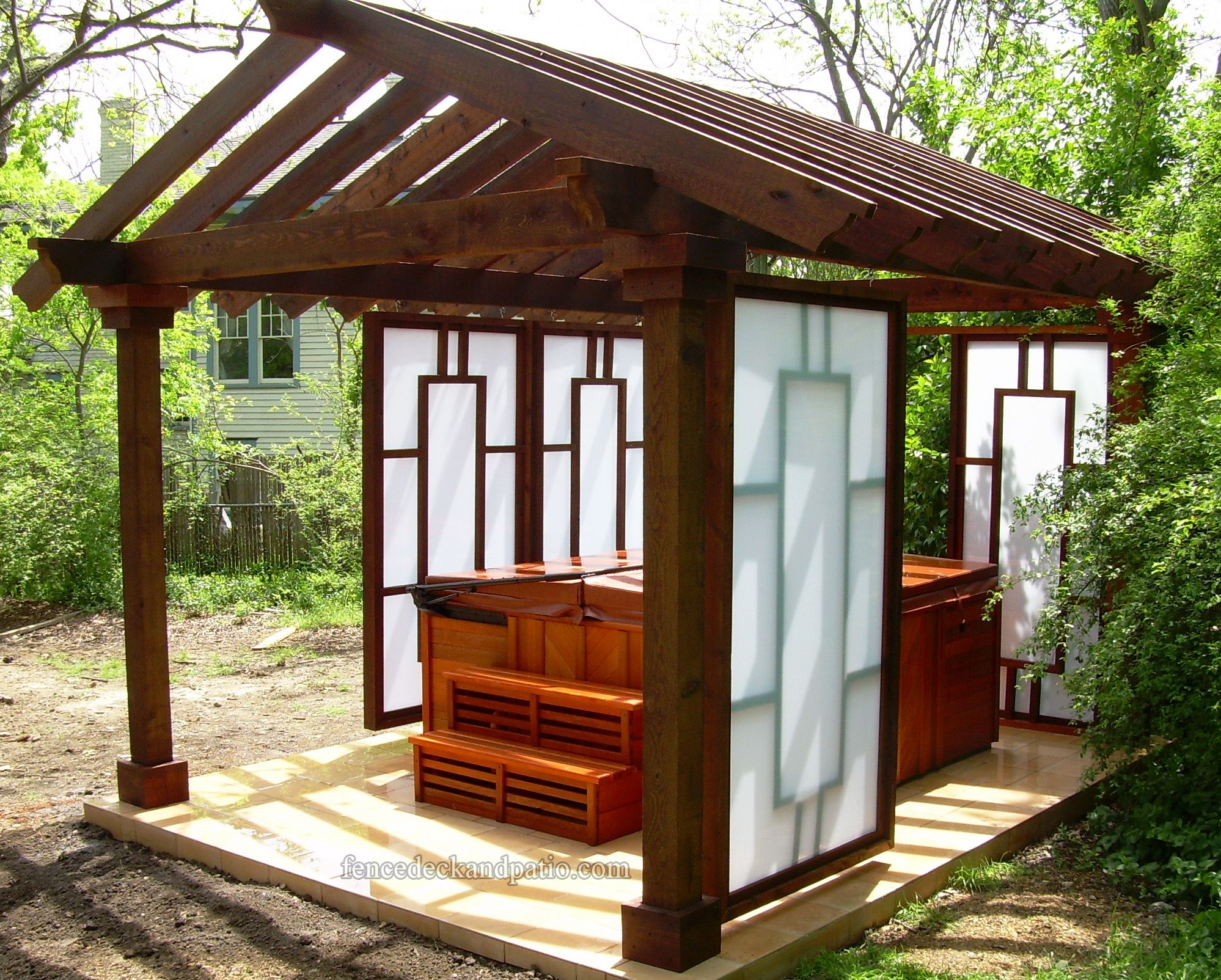 Pergola curtains outdoor - Outdoor Hot Tub With Sliding Walls You Can Choose To Let The Sun In Or