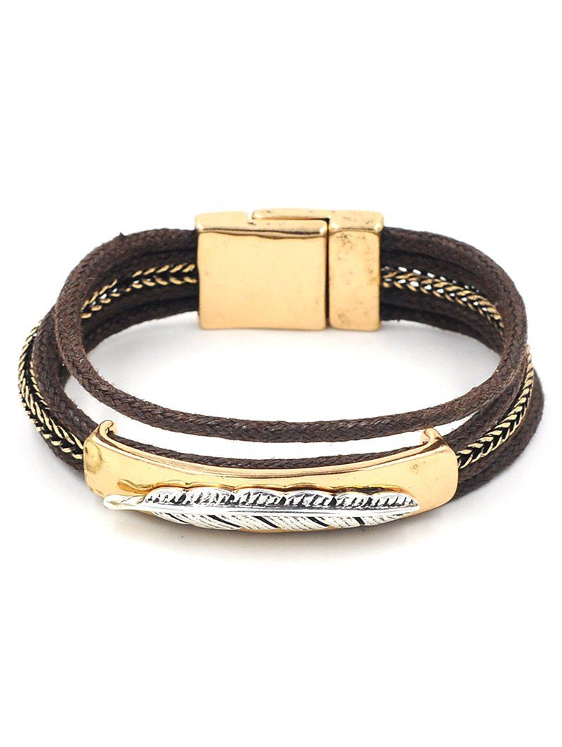 Embossed feather layered rope bracelet click clothing shoes
