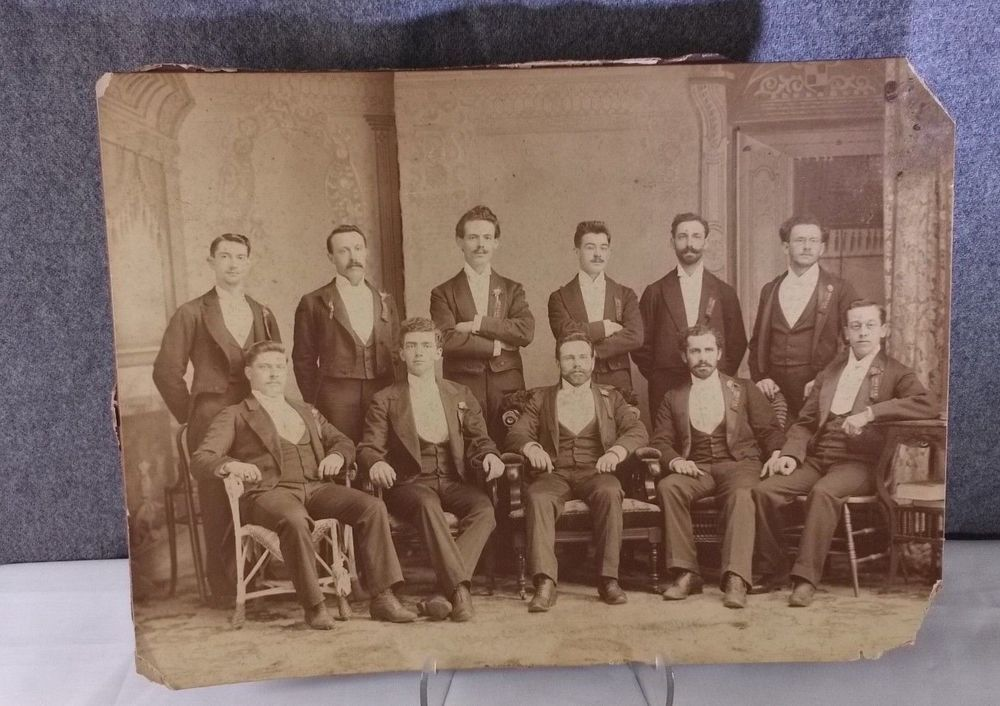 RARE Antique Photograph HIGH SOCIETY Men Fraternity, Brotherhood