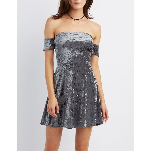 Charlotte Russe Velvet Off-The-Shoulder Skater Dress ($29) ❤ liked on Polyvore featuring dresses, charcoal, charlotte russe, off the shoulder skater dress, charlotte russe dresses, long-sleeve skater dresses and glamorous dresses