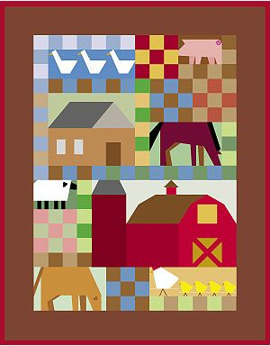 free farm quilt patterns | Farm Yard Optional Block Setting ... : farm quilt patterns - Adamdwight.com