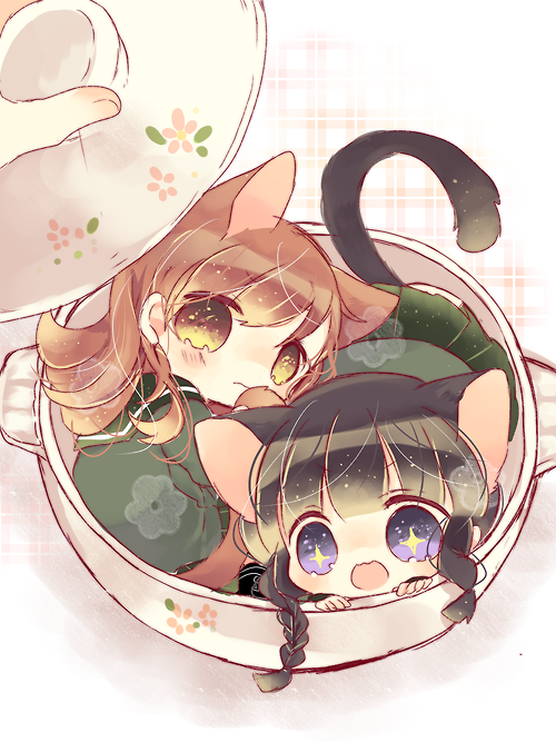 Anime Art Neko Cat Girls Cat Ears Cat Tails Big Eyes Chibi Tiny Tea Cup Cute Moe Kawa Kawaii Chibi Chibi Chibi Eyes