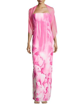 Hydrangea-Print Strapless Gown, Pink by ML Monique Lhuillier at Neiman Marcus Last Call.mom dress?