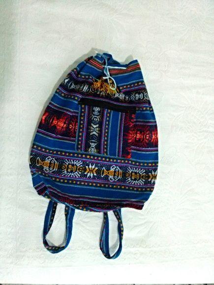 Bolsa peruana de lã de Llama artesanal. Cor azul. tamanho Altura 38 ... 31249c13212