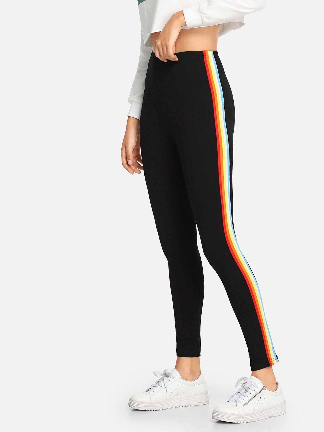 3ff1eee25edc8 Striped Side Skinny LeggingsFor Women-romwe   christmas list in 2019 ...