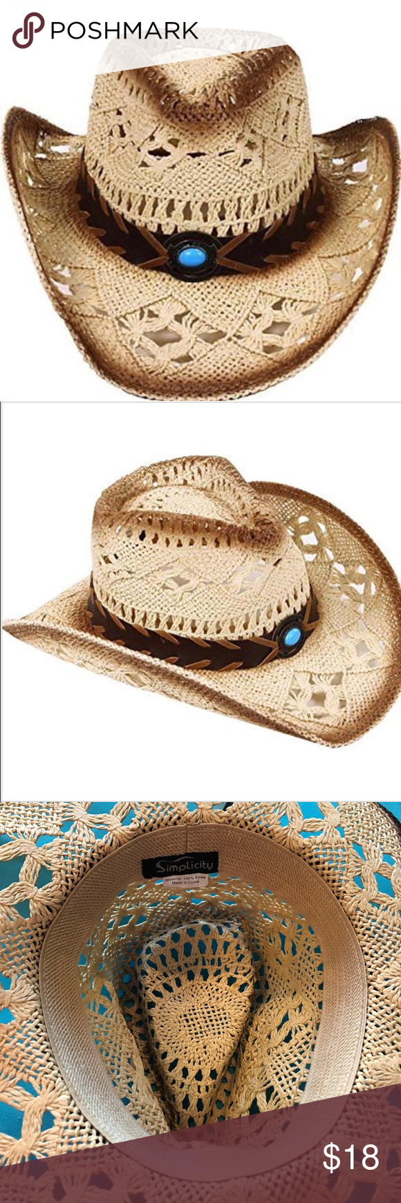 f6863a74845723 Western Country Cowboy Hat Leather Band Turquoise Simplicity Western  Country Style Cowboy Straw Hat Leather Band