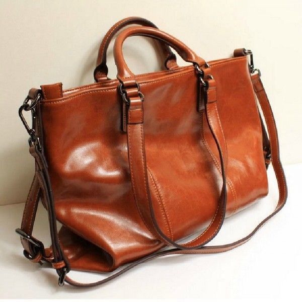 Vintage two-tone leather tote