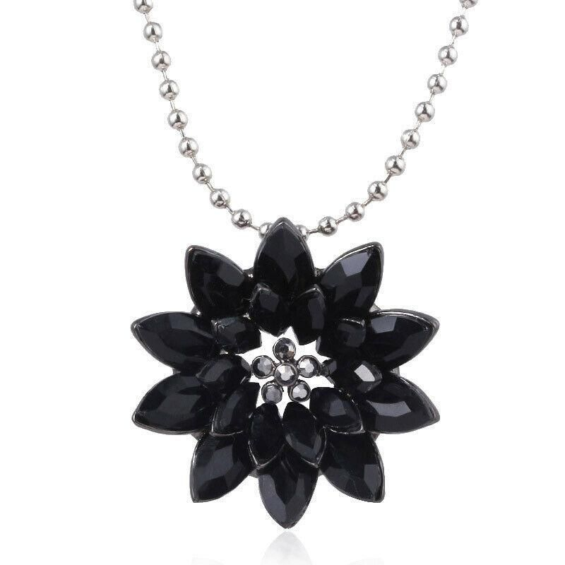 Spider Man Far From Home Dahlia Pendant Black Crystal Flowers Cosplay Necklace In 2020 With Images Cosplay Necklace Black Crystals Marvel Jewelry