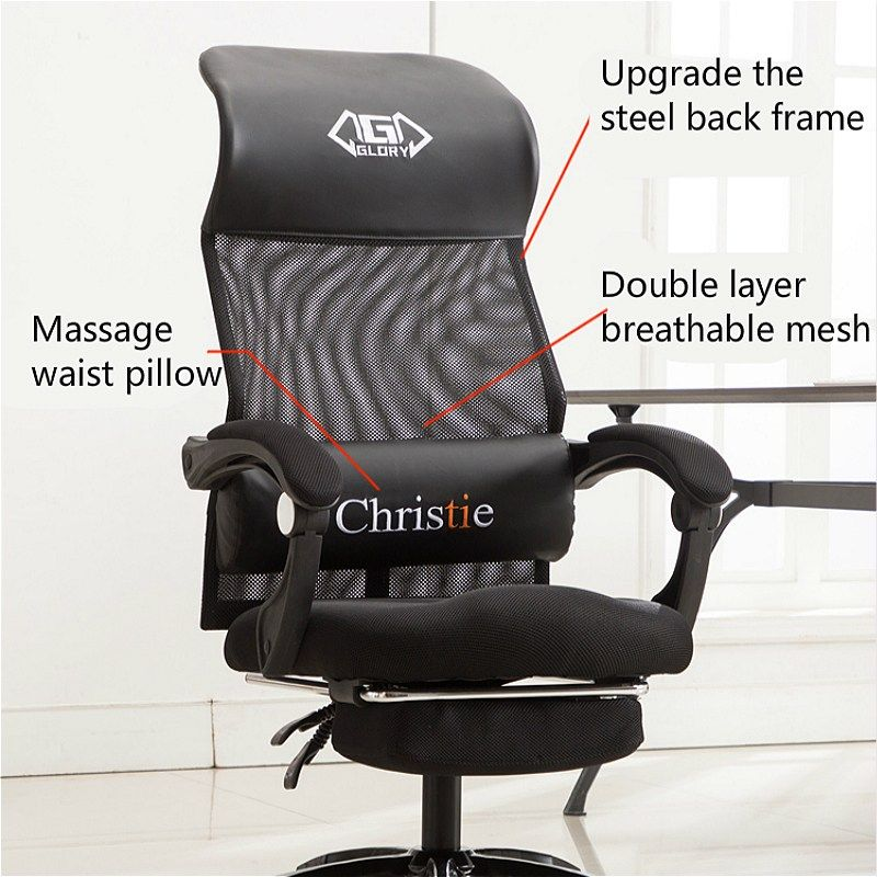 Simple Reclining Office Chair With Footrest Lifted Rotated