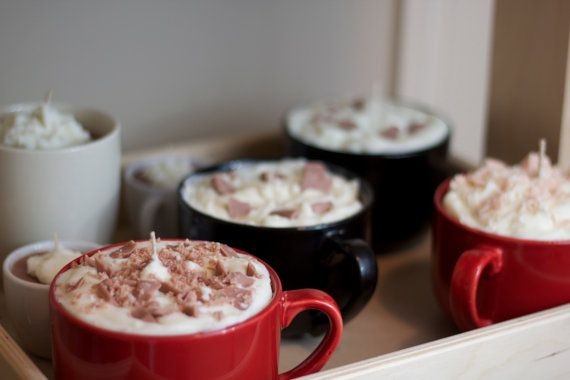 Hot Chocolate Mug Soy Candle by KrazyLadyCandles on Etsy, $28.00