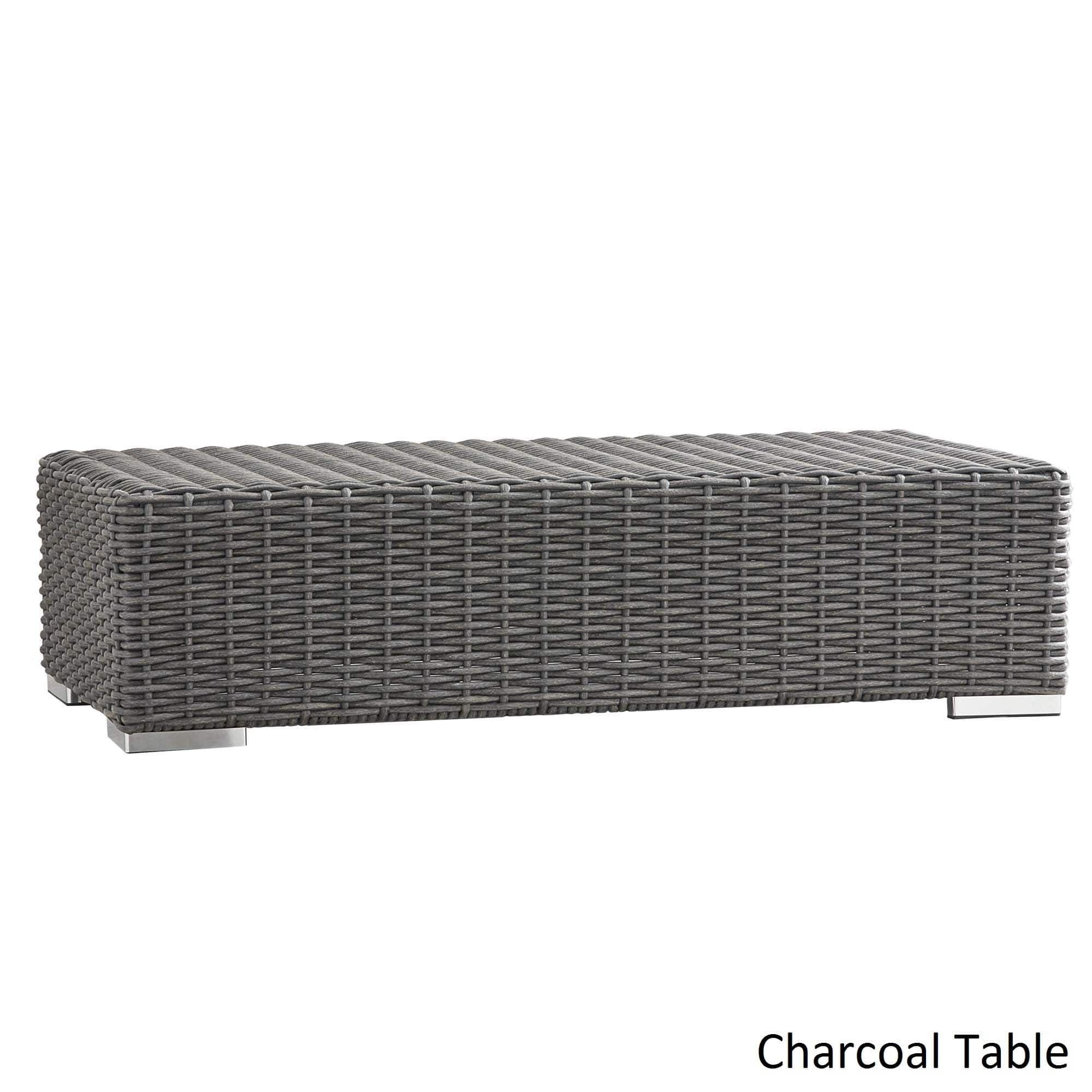 Barbados Wicker Patio Cushioned Rectangular Coffee Table Ottoman by iNSPIRE  Q Oasis ([Charcoal Finish