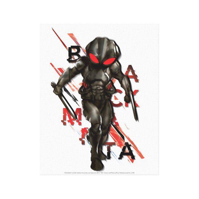 Aquaman  Black Manta Scattered Typography Graphic Canvas Print ,
