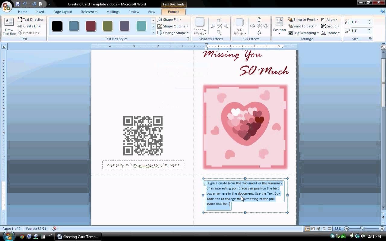 Ms word tutorial part 1 greeting card template inserting and ms word tutorial part 1 greeting card template inserting and format kristyandbryce Image collections