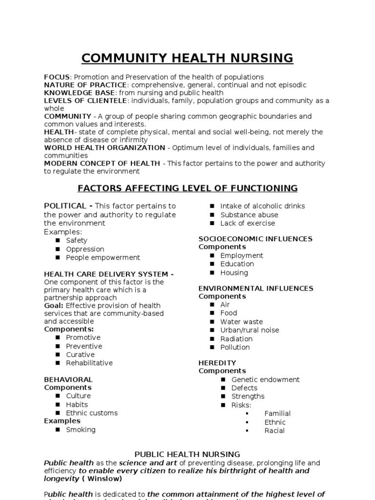 Community health nursing notes f you have questions please