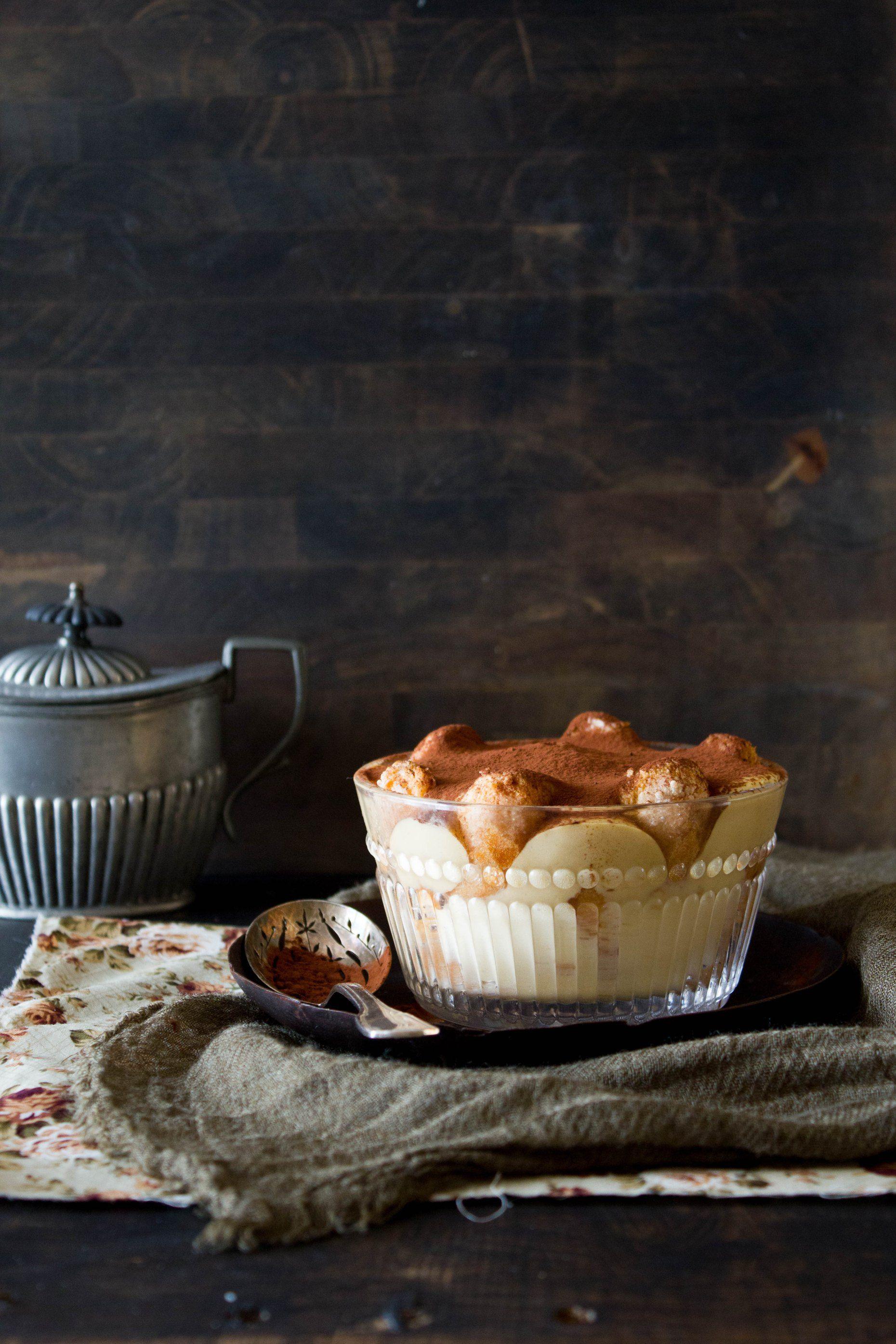 Tiramisu con crema pastelera al caramelo