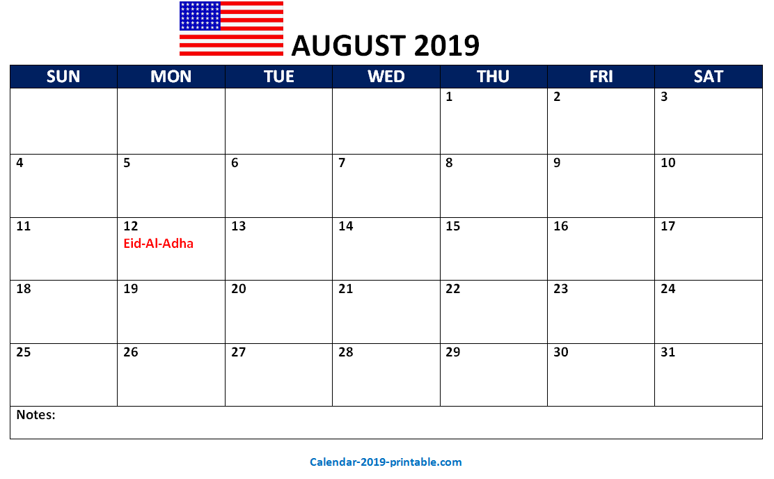 august 2019 us printable calendar | 2019 Calendars | Us holiday