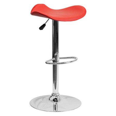 Flash Furniture Contemporary Vinyl Adjustable Height Barstool with Chrome Base, Multiple Colors, Red