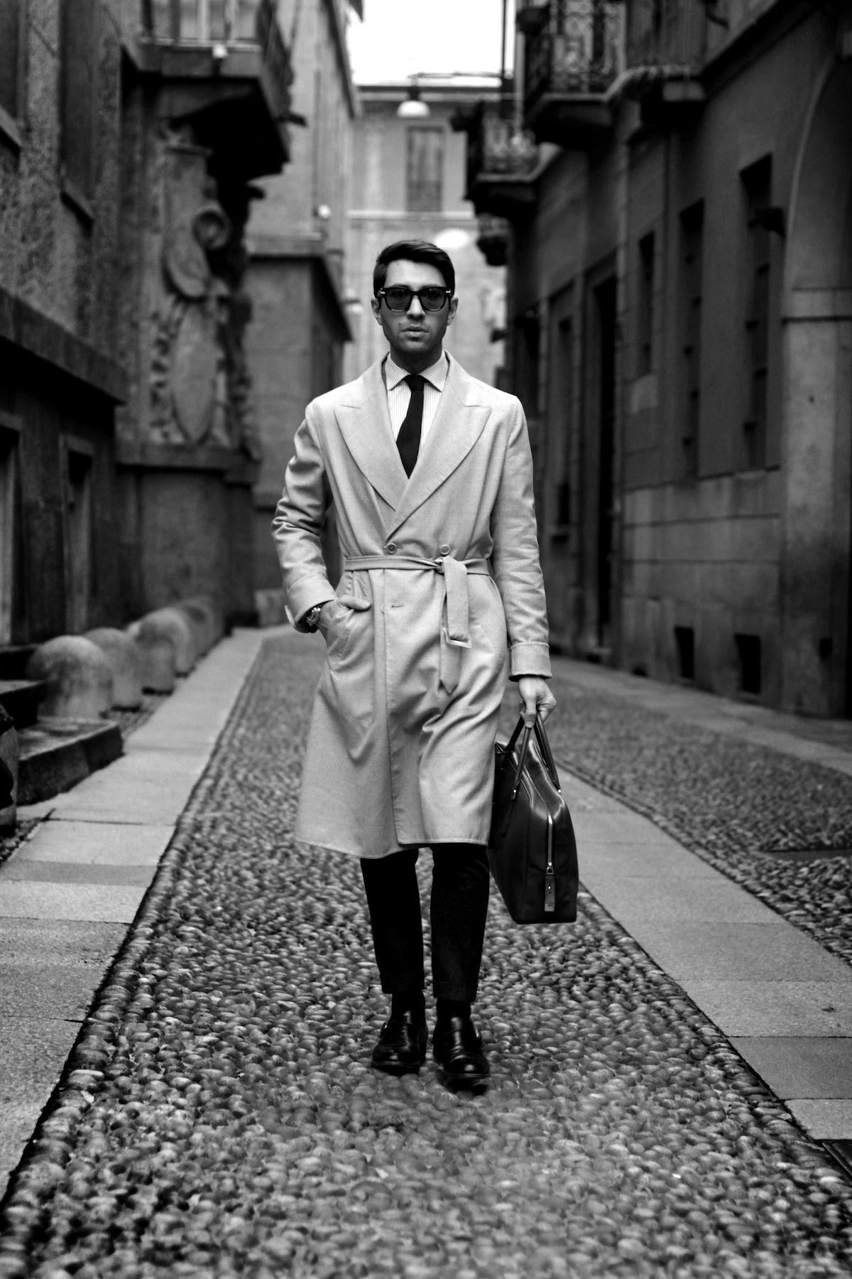 Ermanno Scervino SS 2015 coat Yves Saint Laurent vintage tie Audemars  Piguet Millenary watch Boglioli pants Prada Saffiano briefcase 0ea08c40388
