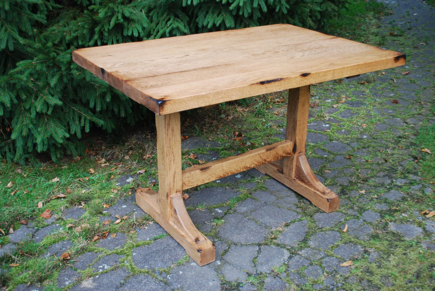 Small And Narrow Diy Pine Trestle Dining Table For Saving Small Spaces Rustic Farmhouse Dining Roo Breakfast Nook Table Farmhouse Dining Table Farmhouse Dining