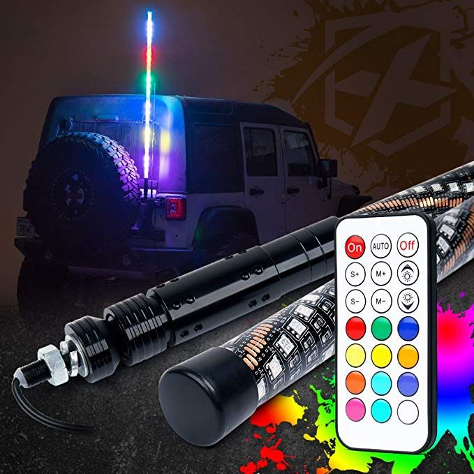 Xprite 5ft 1 5m Dancing Spiral Rgb Led Whip Light Flag Pole Safety Antenna Chasing Lamp W Wireless Rf Remote Control For Offroad J Rgb Led Trophy Truck Jeep