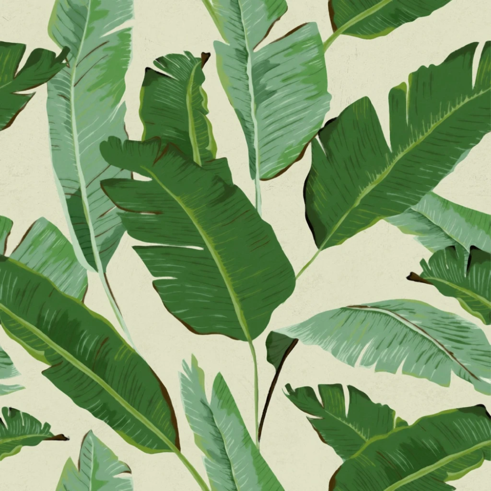 Banana Leaves Wallpaper in Beige and Green from the