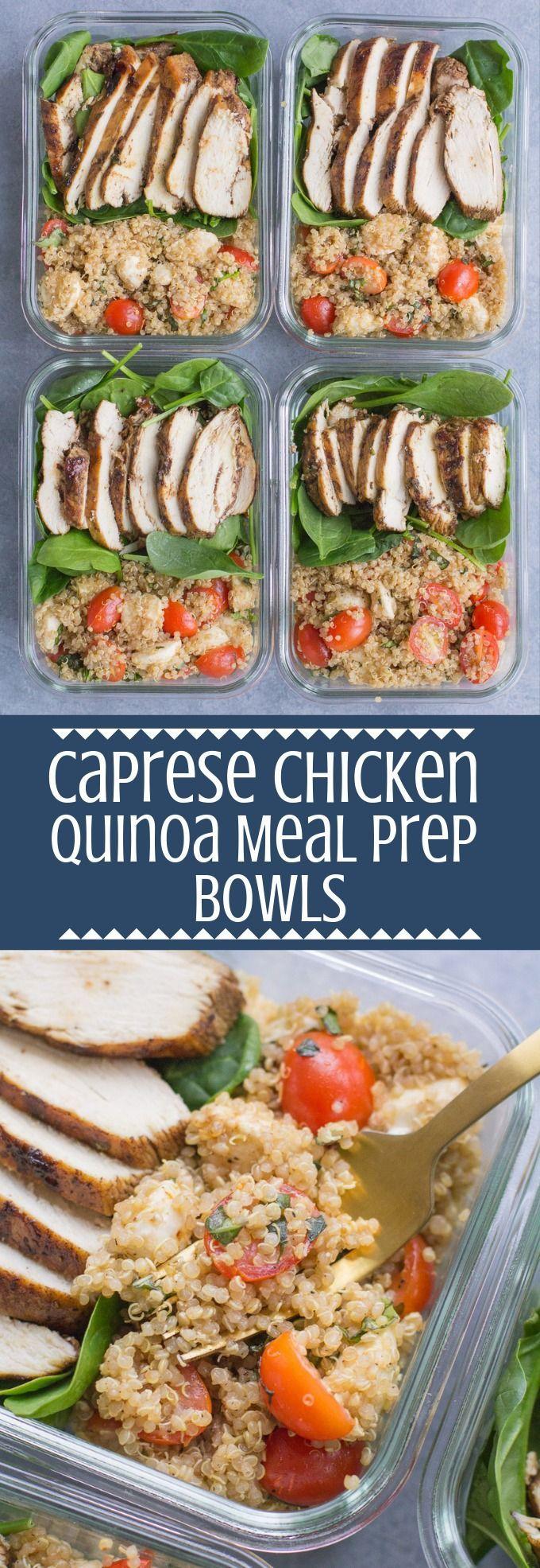 Chicken Caprese Quinoa Meal Prep Bowls -