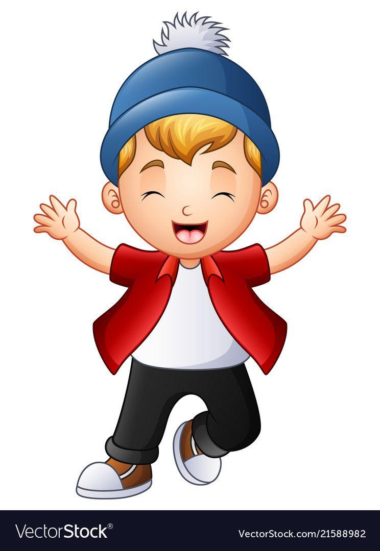 Cute little boy raising hands vector image on   Cute