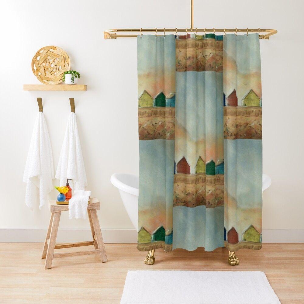 Beach Huts Shower Curtain By 13thstreet Design Curtains Home
